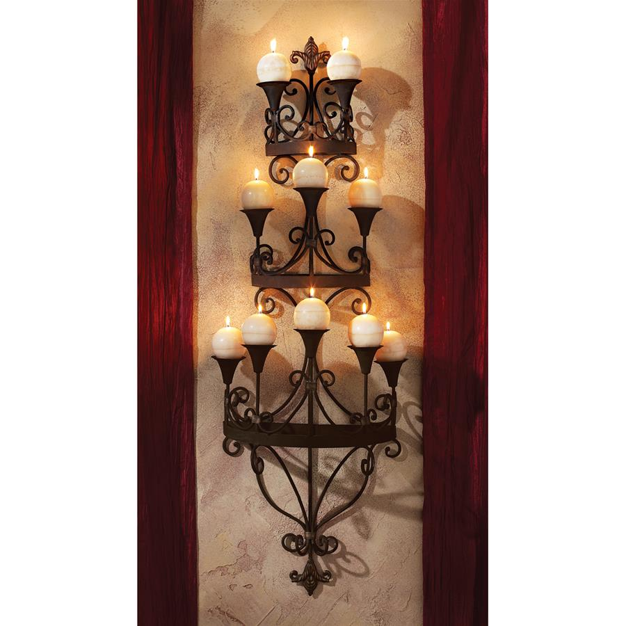 Carbonne Candle Chandelier Wall Sconce by Design Toscano