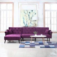 Mid Century Style Microfiber Velvet Futon Sectional, Purple