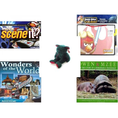 Children's Gift Bundle [5 Piece] -  Scene It? DVD  - s 2nd Edition - Angry Birds Star Wars Dry Erase Board w/ Marker  - Ty Holiday TeddyBeanie Buddy  - Wonders of the World Eyes On Adventure  - Owen - Angry Birds Halloween Game Hd