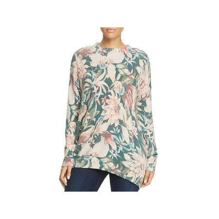 Rhinestone Trim Sweater - Mumu Mellow Womens Floral Print Ribbed Trim Pullover Sweater
