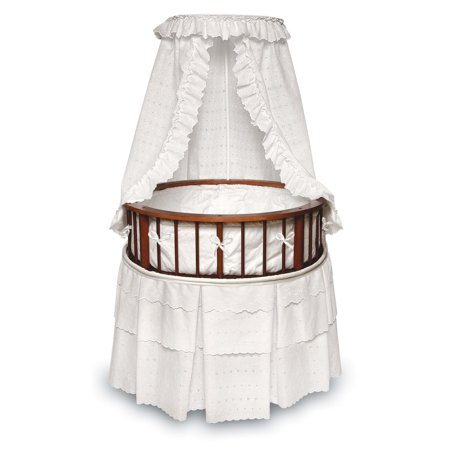 Badger Basket Cherry Elegance Round Bassinet White Eyelet