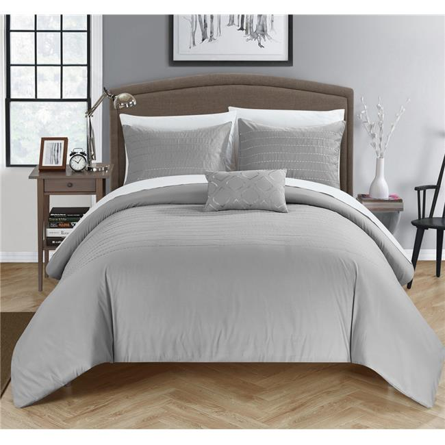 Chic Home DS4014-US 4 Piece Khalil Super Soft Microfiber Stitch Embroidered King Duvet Cover Set, Grey Shams & Decorative Pillow