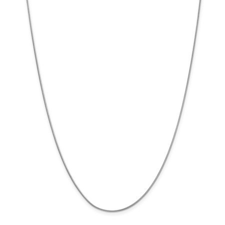 - 10K White Gold 0.90 MM Round Snake Link Chain Necklace, 24