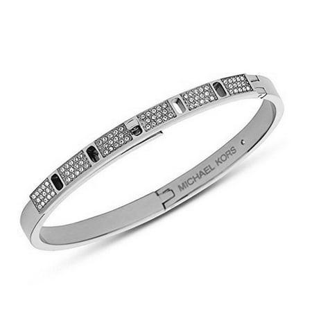 Michael Kors Silver Tone Pave Embellished Studded Bangle Bracelet Mkj4014040 125