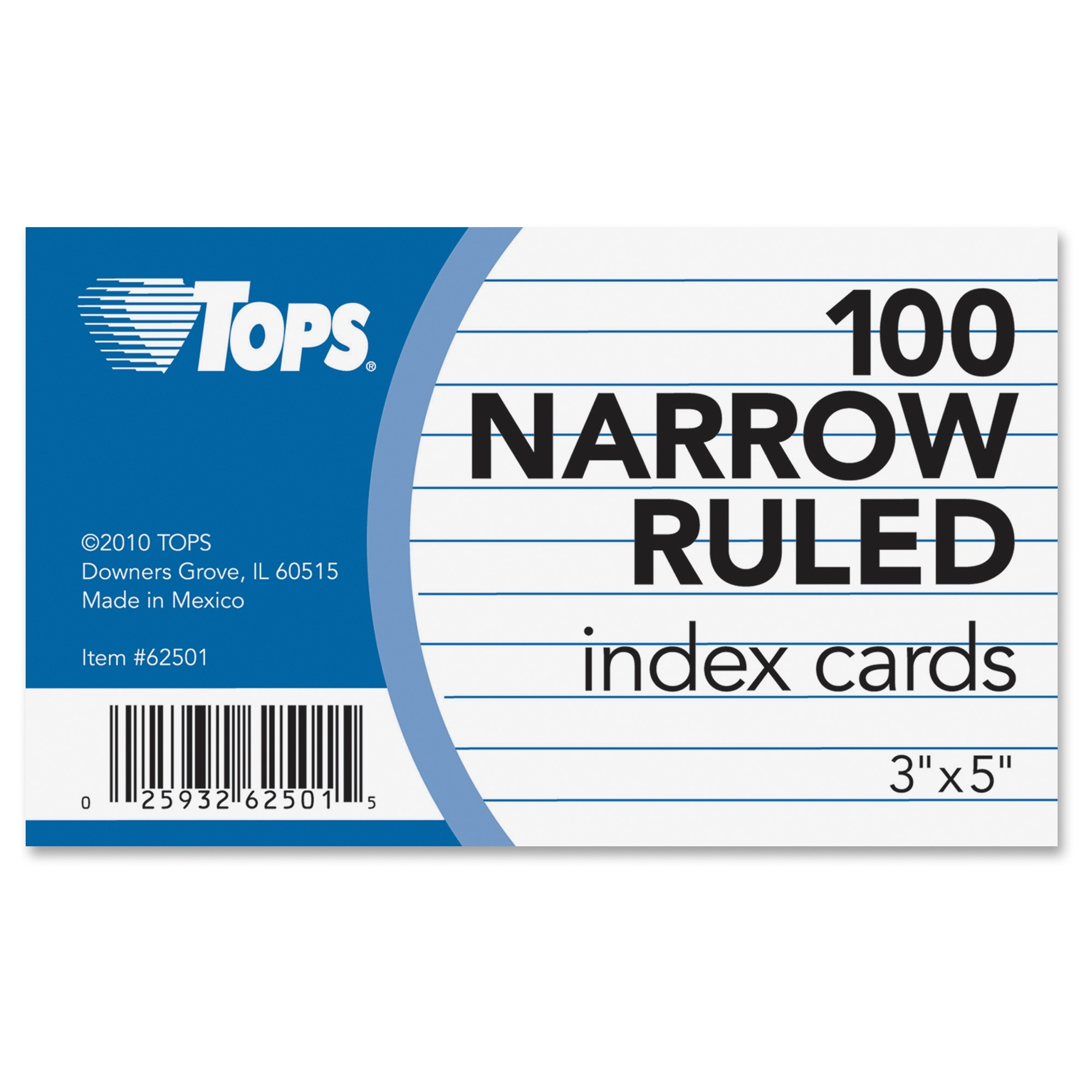 "Tops Narrow Ruled 3x5 Index Cards - Front Ruling Surface - Ruled - 90 Lb Basis Weight - 3"" X 5"" - White Paper - 100 / Pack (top-62501)"