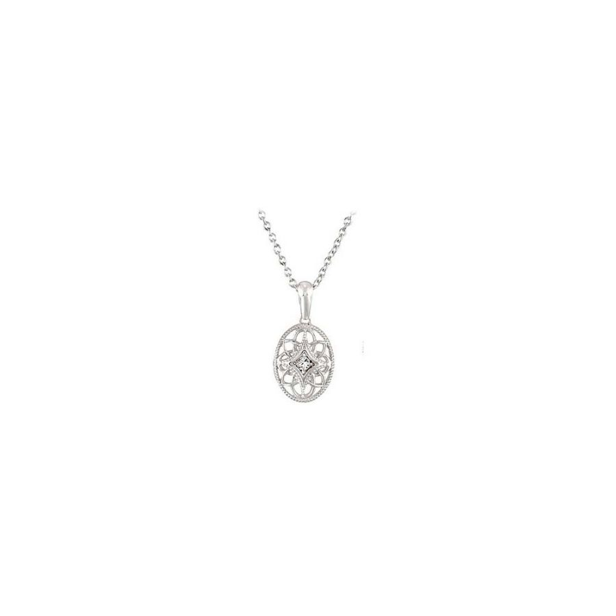 LoveBrightJewelry Sterling Silver 0.03 CT TW Diamond 18 I...