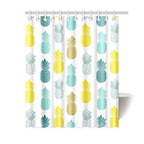 Bpbop Tropical Shower Curtain Blue Yellow Pineapples Polyester Fabric Shower Curtain Bathroom Sets 60x72 Inches Walmart Com Walmart Com