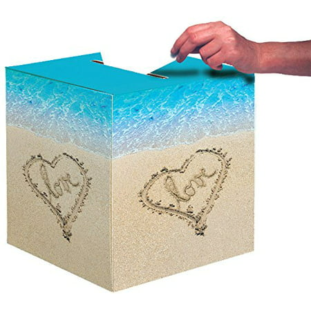 Wedding Card Box, Beach Love, Paper box with opening on top to insert cards By Creative Converting (Make Your Own Wedding Card Box)