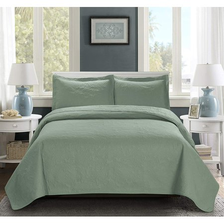 3 Piece Oversize Bedspread Sage Color -MIKANOS Paisley Ultrasonic Embossed Bedspread Set with Two Shams - Oversized Coverlet Queen 100x106 inches - Hypoallergenic,Fade Resistant,Wrinkle Resistant,Soft