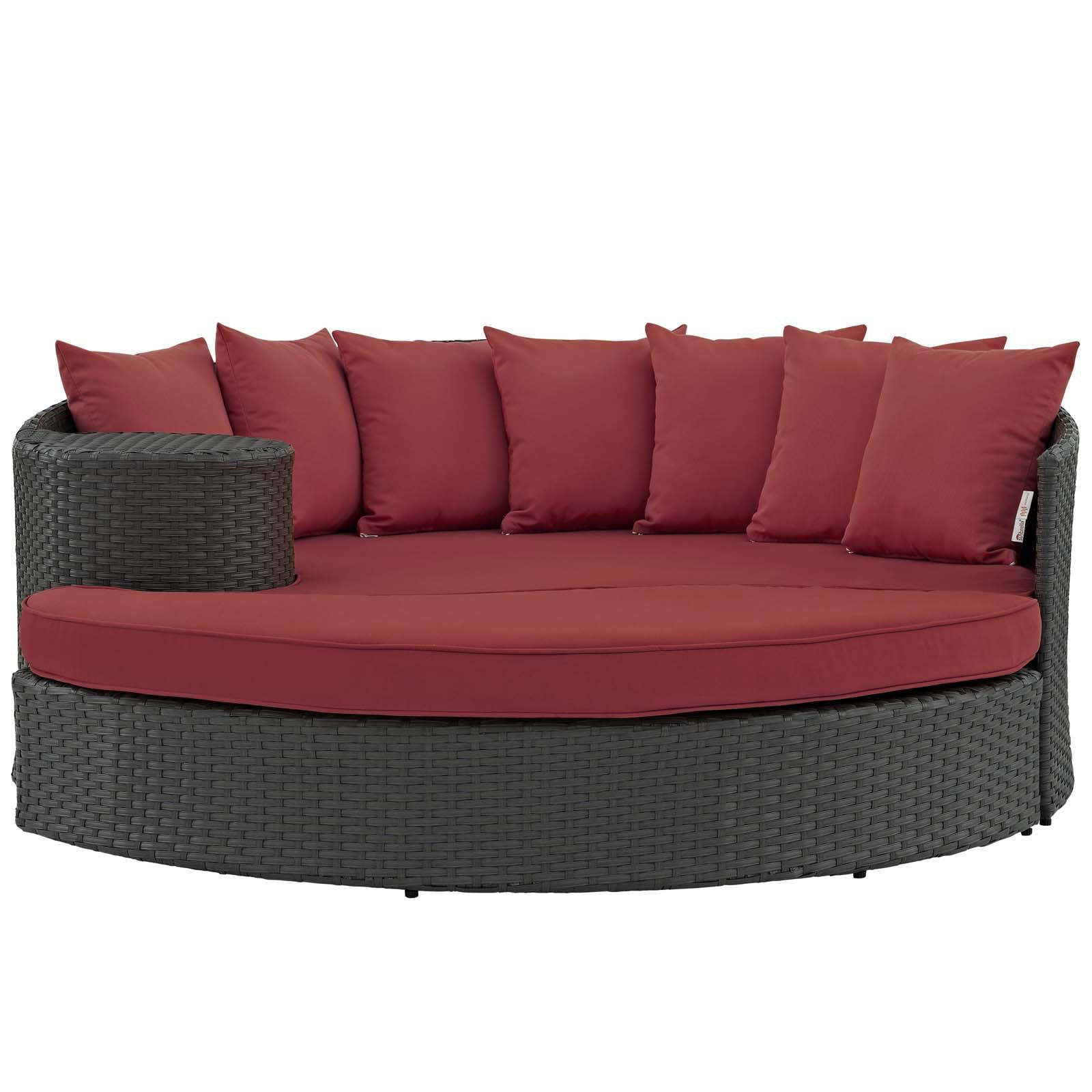 Modern Contemporary Urban Design Outdoor Patio Balcony Garden Furniture  Lounge Daybed Sofa Bed, Sunbrella Rattan Wicker, Red