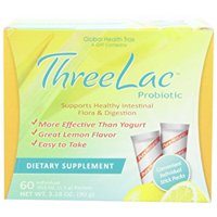Threelac Probiotic Dietary Supplement, Natural Lemon Flavor, Includes (60) .053-Ounce Packets