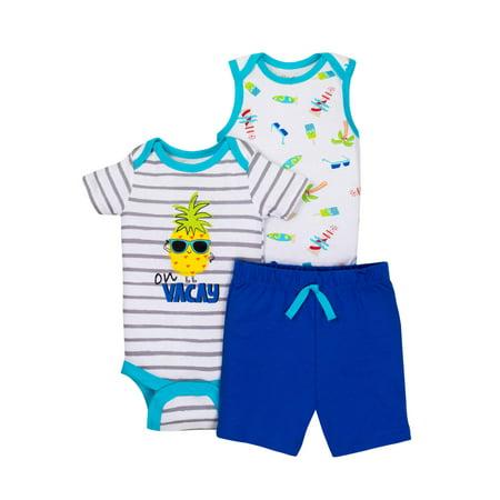 (Newborn Baby Boy Sleeveless Bodysuit, Short Sleeve Bodysuit & Shorts, 3pc Outfit Set)