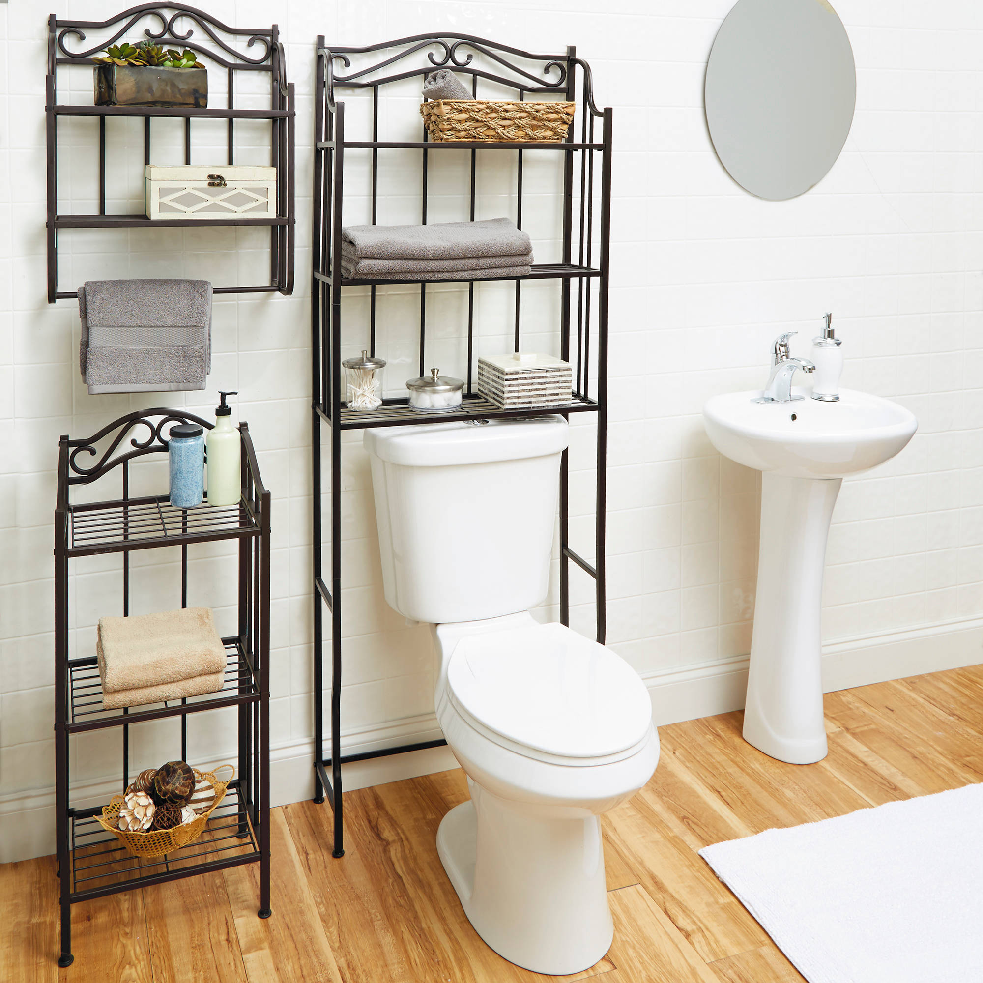 Chapter 3-Tier Ornate Metal Bathroom Floor Shelf, Bronze - Walmart.com