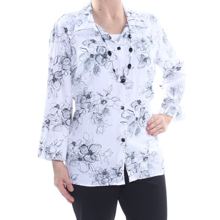 ALFRED DUNNER Womens White Floral Layered Look Necklace 3/4 Sleeve Top  Size: