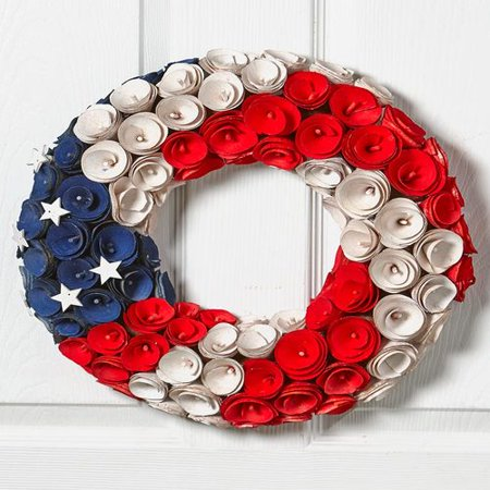 Tuweep Americana Patriotic Wood Curl Wreath Red White Blue Stars Home Front Door Wall Elegant Decor