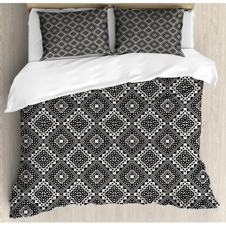 Aztec Queen Size Duvet Cover Set, Bohemian Native Folk Pattern with Hippie Gypsy Grunge Tribal Minimalist Graphic, Decorative 3 Piece Bedding Set with 2 Pillow Shams, Ivory Black, by Ambesonne (Gypsy Boots)
