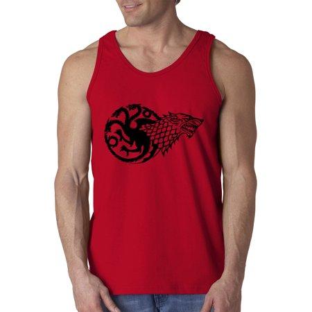 Image of New Way 933 - Men's Tank-Top Stark Targaryen Sigil House Game Of Thrones XL Red