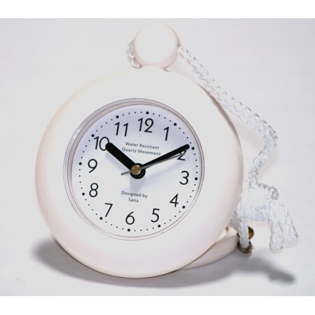 Our white bathroom shower rope clock with a clear easy to read clock face is water-resistant and engineered with a superior quartz movement and turning second hand for accurate