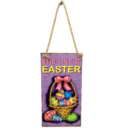 Wooden Easter Hanging Board Festival Wall Door Decor Sign Hanger for Home - Shop Home Decor