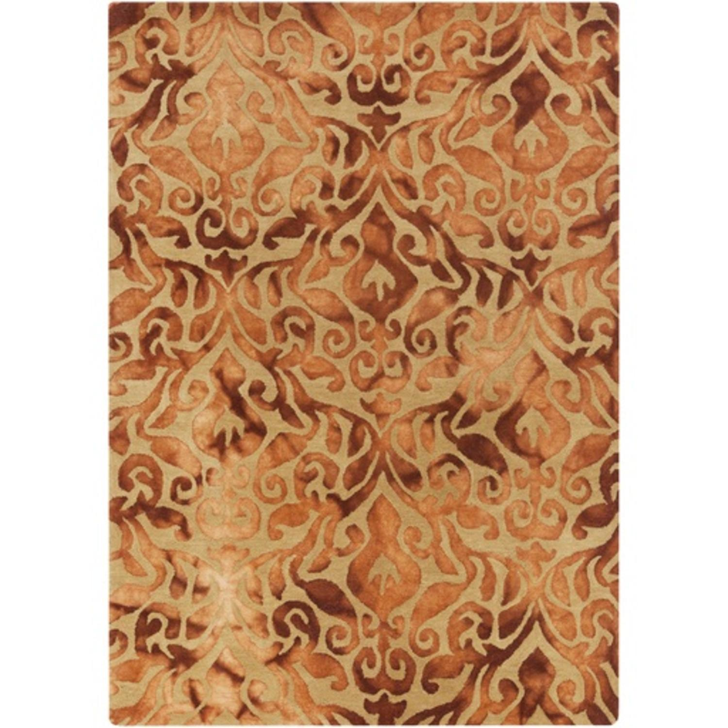 3.25' x 5.25' Blazing Scroll Gold and Fire Orange Area Throw Rug