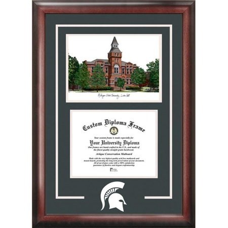 Campus Images MI988SG-9575 9.5 x 7.5 in. Michigan State University Linton Hall Spirit Graduate Frame with Campus Image - Satin Mahogany - image 1 of 1