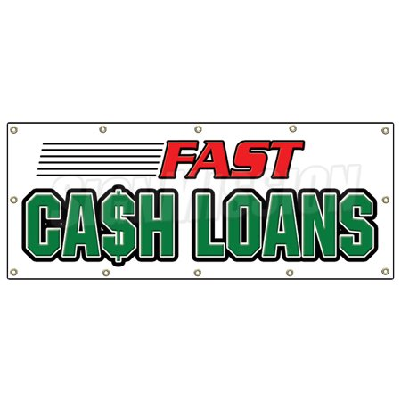 48 X120  Fast Cash Loans Banner Sign Pawn Shop Signs Loan Signs Payday Check