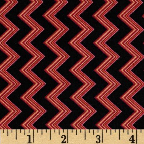 Clearance Sale~Chevron Chic Spaced Chevron Black/Fuchsia Fabric