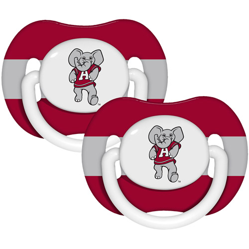 Baby Fanatic Ncaa 2 - pack Baby Pacifiers, Alabama Crimson Tide