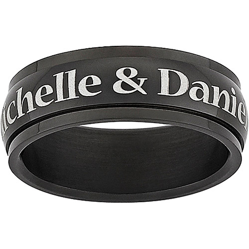 Personalized Men's Top-Engraved Black Stainless Steel Spinner Band
