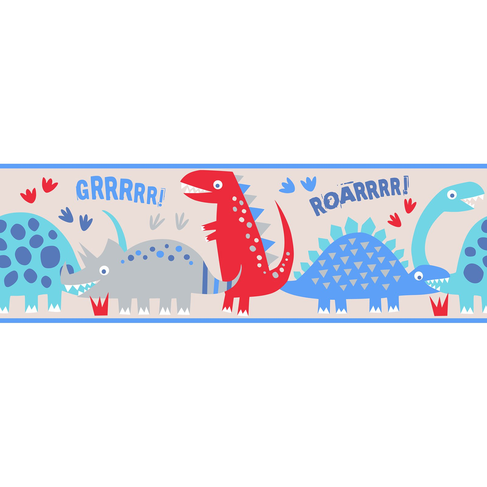 Fun4Walls Blue Dino Peel and Stick Border - Set of 2