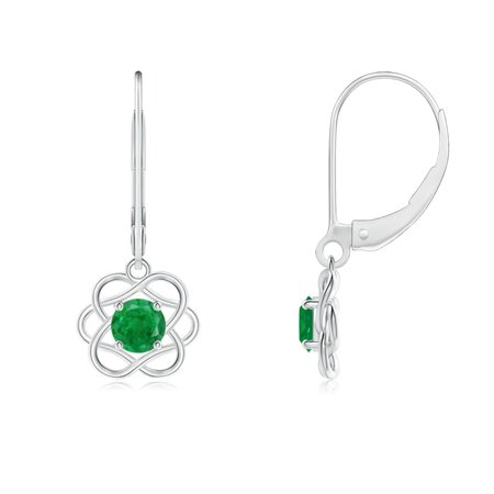 Mother's Day Jewelry Sale - Solitaire Emerald Intertwined Flower Dangle Earrings in 14K White Gold (4mm Emerald) - SE1002E-WG-AA-4