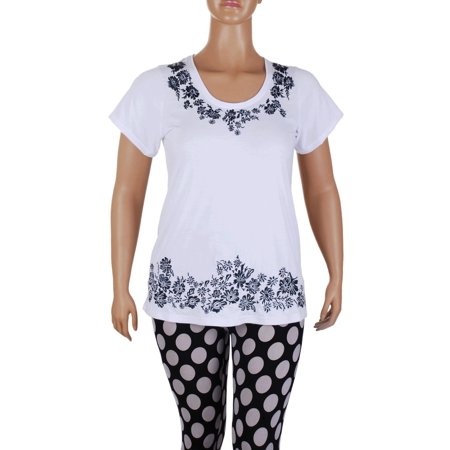 Floral Embroidered Embroidery Stretch Tunic T-Shirt Top Tee Blouse L Xl 2Xl 3Xl - White,XL