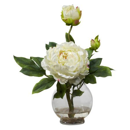 Nearly Natural Peony Silk Flower Arrangement with Fluted Vase, Red