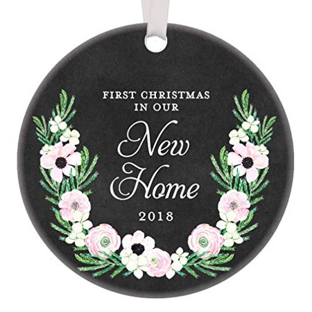 First Christmas In Our New Home 2019.New Home Keepsake Gifts 2019 First Christmas In Our New Home Ornament New Homeowners Housewarming 1st Xmas House Present 3 Flowers Flat Circle