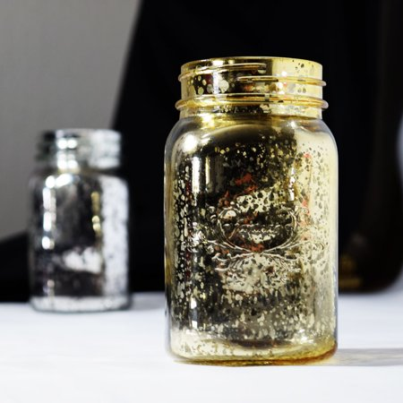 Fantado Regular Mouth Gold Mercury Glass Mason Jar, 16oz / 1 Pint by PaperLanternStore - Gold Mason Jars