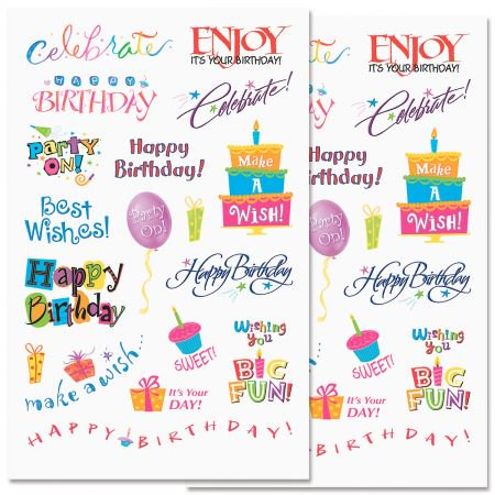 Birthday Words Stickers - 72 Stickers on 4 5-3/4
