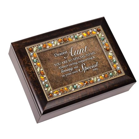 - Cottage Garden JM397A Dearest Aunt Jeweled Amber Music Box