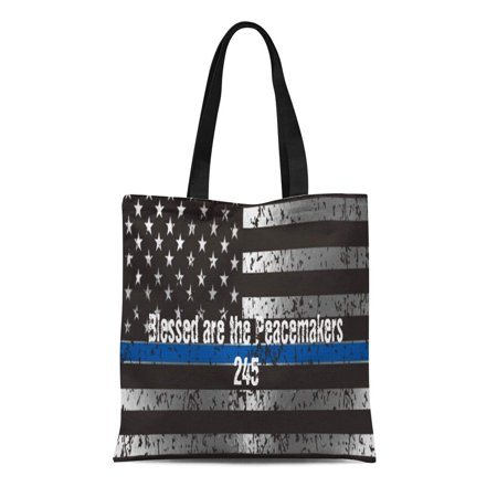 Law Enforcement Bags (LADDKE Canvas Tote Bag Blue Police Blessed Are the Peacemakers Badge Law Enforcement Reusable Handbag Shoulder Grocery Shopping)