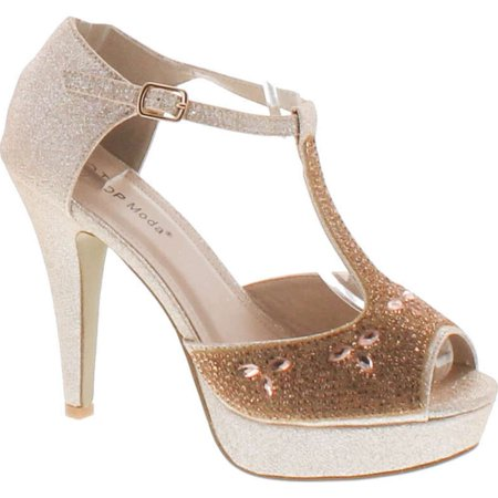 Evening High Heels - Top Moda Womens Caviar-1 Bridal Formal Evening Party Ankle Strap High Heel Peep Toe Glitter Sandal