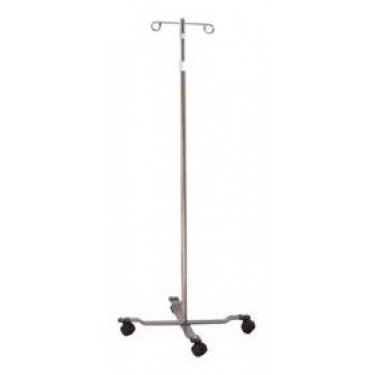 Pole 4 Leg 2 Hook - IV Pole Floor Stand entrust 2-Hook 4-Leg, Dual-Wheel Nylon Casters, 22 Inch Epoxy-Coated Steel Base
