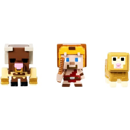 Minecraft Build-A-Mini 3-Pack Iron Golem Minataur, Steve In Hercules Armor, & Golden Fleece
