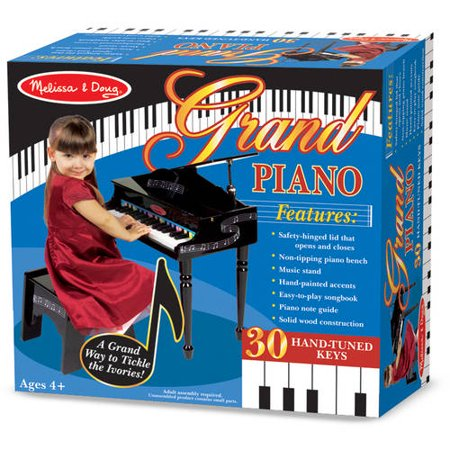 Melissa Doug Learn To Play Classic Grand Piano With 30 Keys Color Coded Songbook And Non Tip Bench