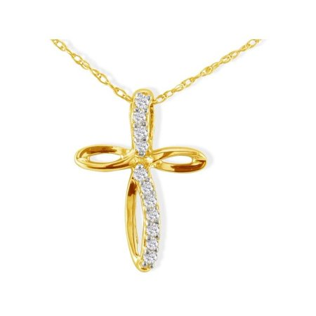- .12ct Journey Diamond Cross Pendant in 10k Yellow Gold