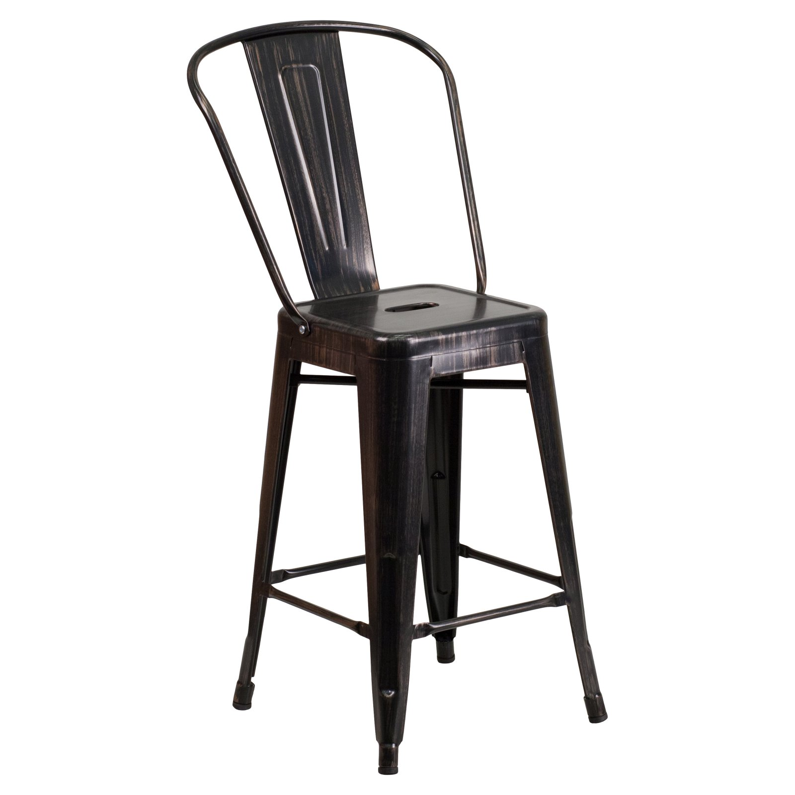 Flash Furniture 24'' High Black-Antique Gold Metal Indoor-Outdoor Counter Height Stool with Back