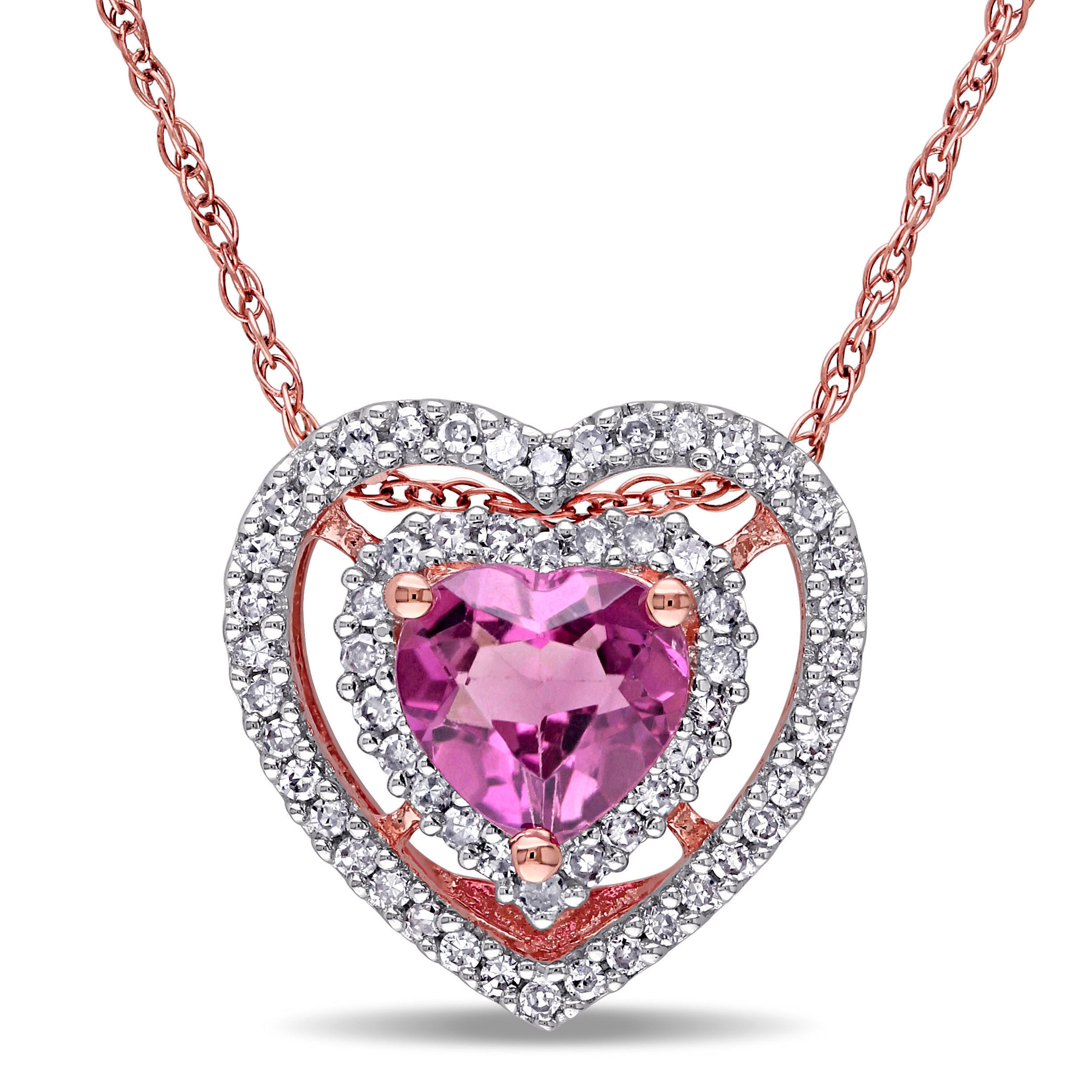 Miadora 10k Rose Gold Pink Tourmaline and 1 5ct TDW Diamond Necklace (G-H, I1-I2) by Overstock