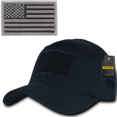 Ultimate Arms Gear Tactical Military Navy Blue Hat Cap Ballcap Headwear Adjustable Hook   Loop With 6 Velcro Attachment Points And Padded Sweatband   Foliage Usa American Flag Patch