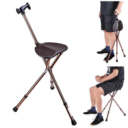 Foldable Seat - GHP 160-Lbs Capacity Aluminum Alloy & ABS Tripod Base Foldable Walking Stick with Seat