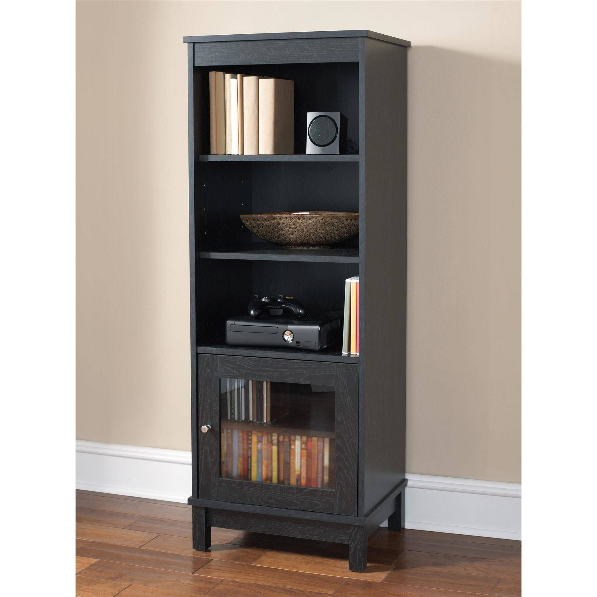 mainstays media storage bookcase multiple finishes walmart