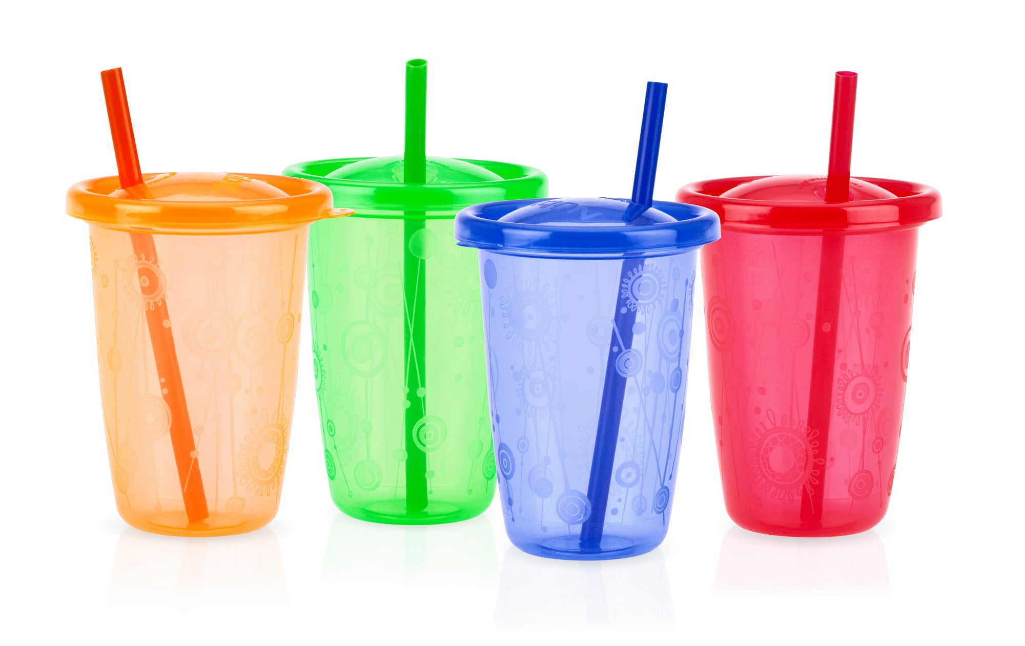 Nuby 4pk 10oz Wash Or Toss Cups With Straws by Nuby