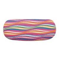 Glasses Case For Men & Women, Bumpy Hard Shell Eyeglass Case, Colorful Waves, Pink